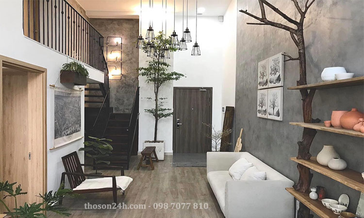 Phòng khách với điểm nhấn sơn bê tông