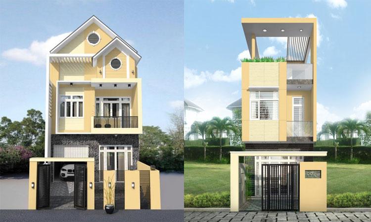 Mẫu mặt tiền nhà màu vàng